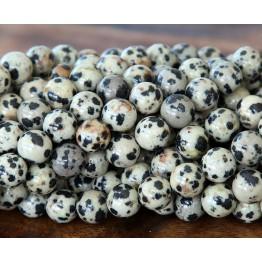 Dalmatian Jasper Beads, Cream, 8mm Round