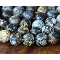 Matte Ocean Jasper Beads With Druzy, 8mm Round