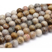 Ocean Jasper Beads, Light Grey and Brown, 8mm Round