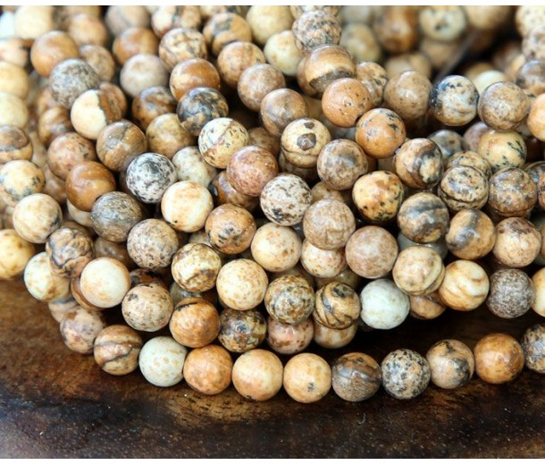 Picture Jasper Beads, Natural, 4mm Round