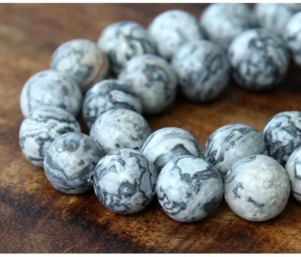 Scenery Jasper Beads, 12mm Round, 15 Inch Strand