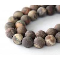 Matte Red Creek Jasper Beads, 8mm Round