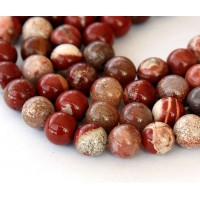 White Lace Red Jasper Beads, 8mm Round