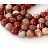 -White Lace Red Jasper Beads, 10mm Round
