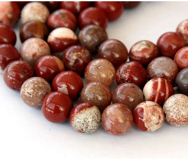 White Lace Red Jasper Beads, 10mm Round