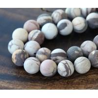 Matte Zebra Jasper Beads, 10mm Round