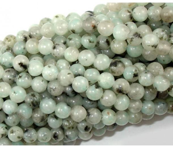 Sesame Jasper Beads, Light Teal, 6mm Round