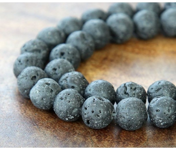 Natural Lava Rock Beads, 10mm Round