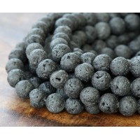 Natural Lava Rock Beads, 8mm Round