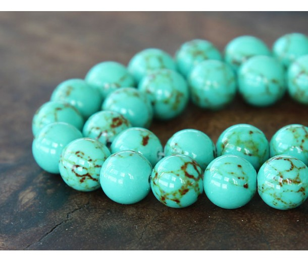 Magnesite Beads, Light Teal Green, 12mm Round