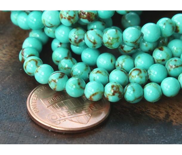 Magnesite Beads, Light Teal Green, 4mm Round
