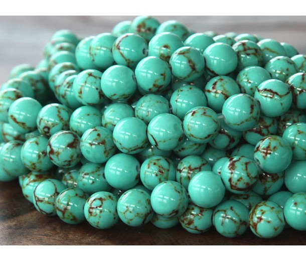 Magnesite Beads, Light Teal Green, 6mm Round