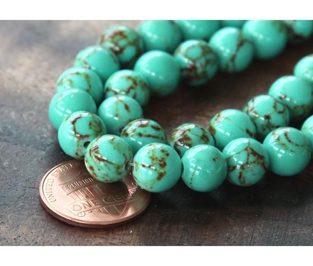 Magnesite Beads, Light Teal Green, 6mm Round