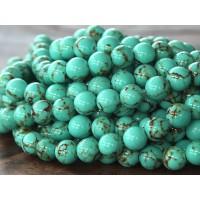 Magnesite Beads, Light Teal Green, 8mm Round