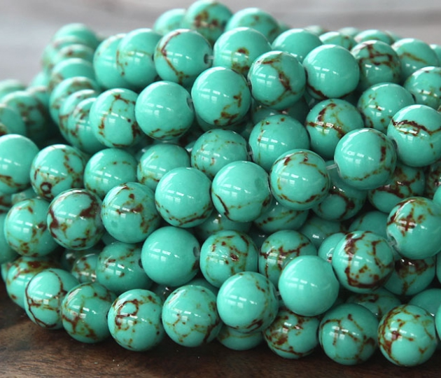 Magnesite Beads Light Teal Green 8mm Round Golden Age
