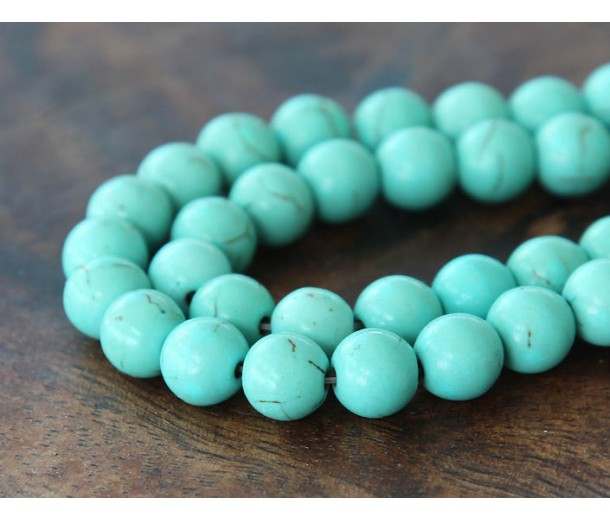 Magnesite Beads, Light Teal, 8mm Round