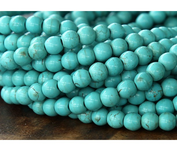 Magnesite Beads, Light Teal, 6mm Round
