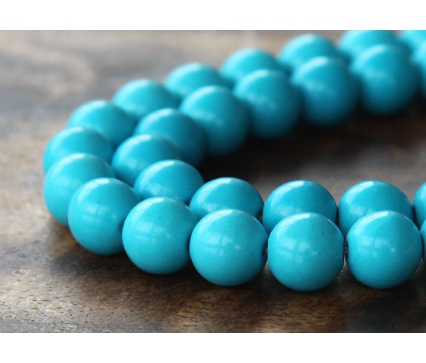 Howlite Beads, Blue, 10mm Round