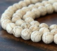 Howlite Beads, Cream, 10mm Round