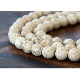 Howlite Beads, Cream, 10mm Round