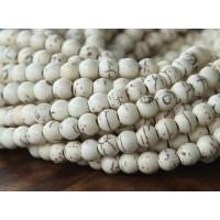 Howlite Beads, Cream, 6mm Round