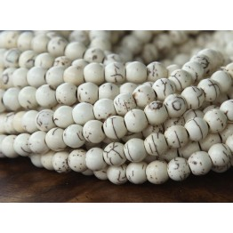 Howlite Beads, Cream, 6mm Round