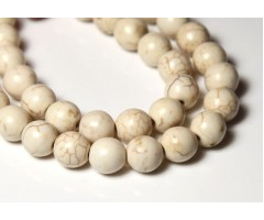 Howlite Beads, Cream, 7-8mm Round