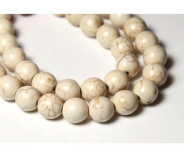 Howlite Beads, Cream, 7-8mm Round
