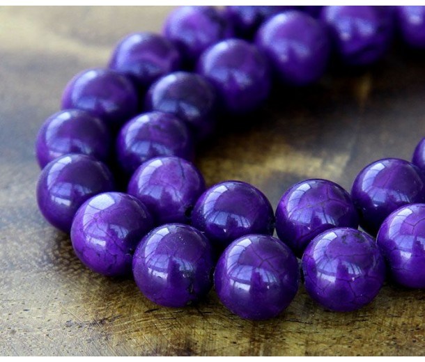 Magnesite Beads, Dark Purple, 8mm Round