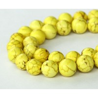 Magnesite Beads, Lemon Yellow, 8mm Round