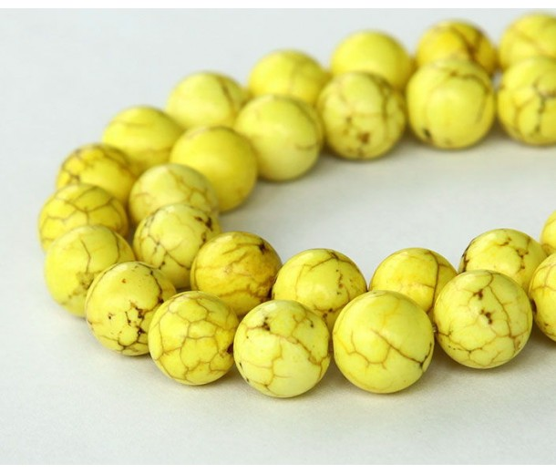 Magnesite Beads, Lemon Yellow, 10mm Round