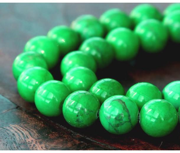 Magnesite Beads, Apple Green, 10mm Round