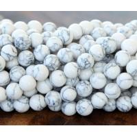 Magnesite Beads, White, 4mm Round
