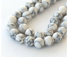 Magnesite Beads, White, 8mm Round