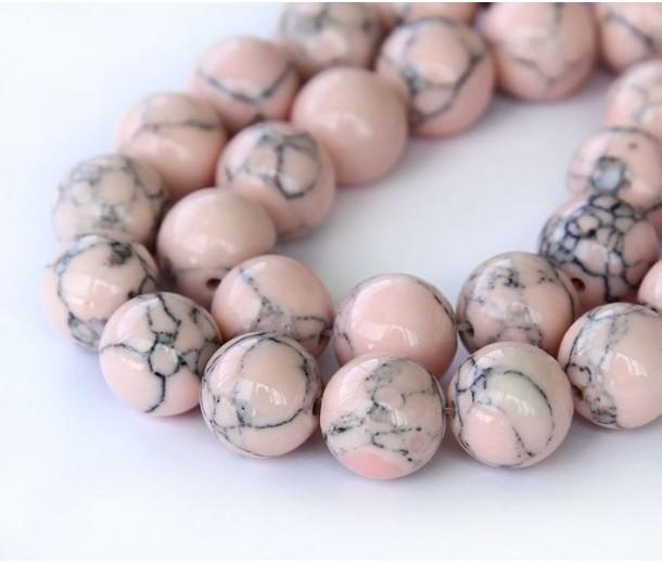Magnesite Beads, Blush Pink, 8mm Round, 15 Inch Strand