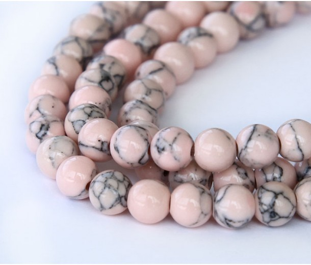 Magnesite Beads, Blush Pink, 4mm Round