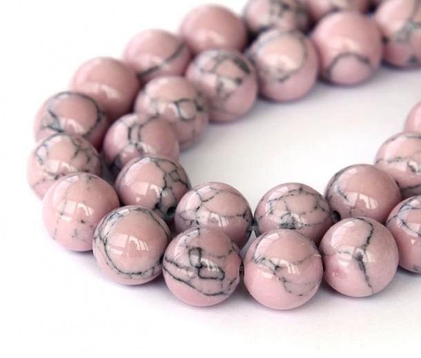 Magnesite Beads, Mauve, 8mm Round, 15 inch strand