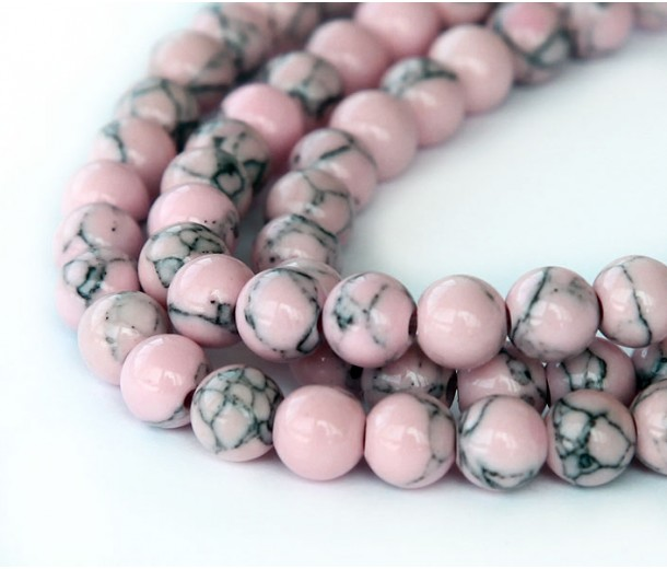 Magnesite Beads, Mauve, 6mm Round