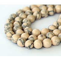 Magnesite Beads, Light Oatmeal, 8mm Round