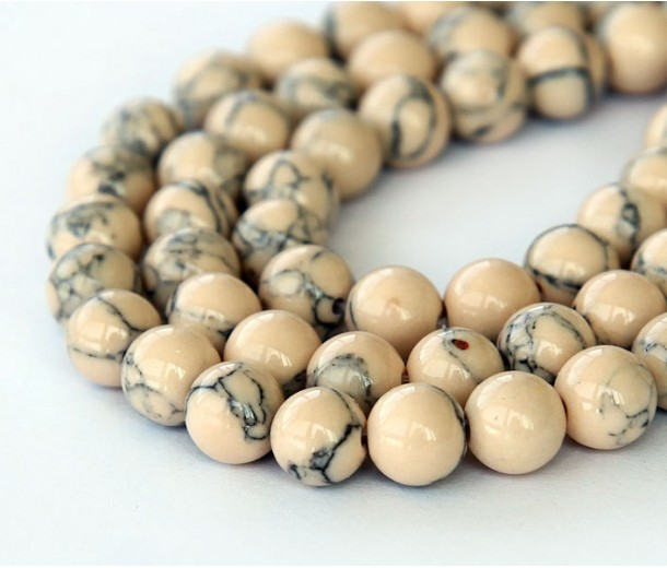 Magnesite Beads, Light Oatmeal, 6mm Round