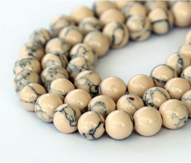 Magnesite Beads, Light Oatmeal, 6mm Round