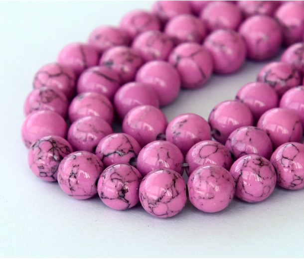 Magnesite Beads, Orchid, 8mm Round, 15 Inch Strand