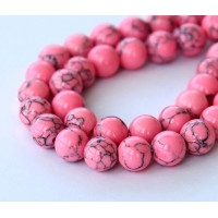 Magnesite Beads, Neon Pink, 8mm Round