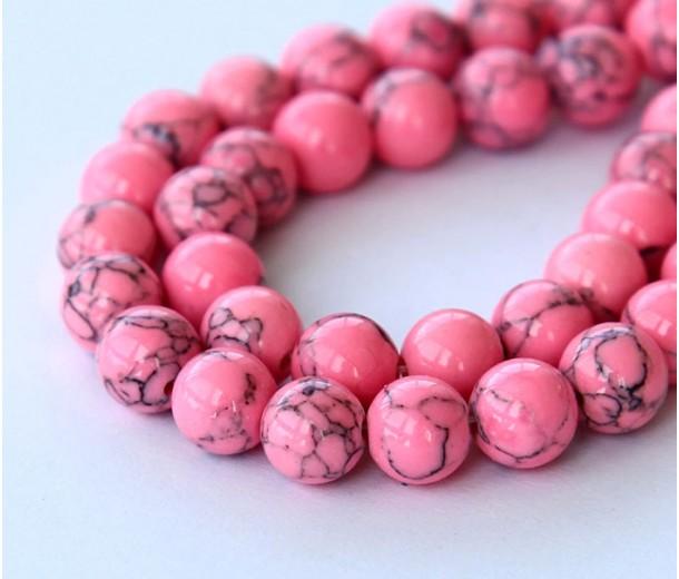 Magnesite Beads, Neon Pink, 10mm Round