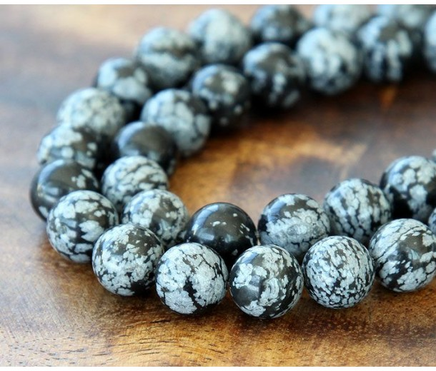 Snowflake Obsidian Beads, 10mm Round