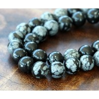 Snowflake Obsidian Beads, 8mm Round