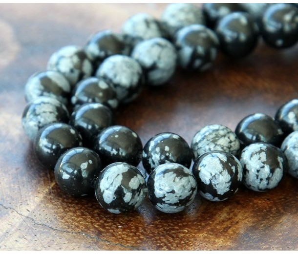 Snowflake Obsidian Beads, 8mm Round