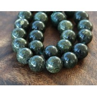Russian Serpentine Beads, Dark Green, 10mm Round