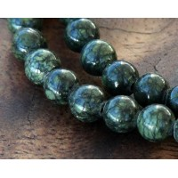 Russian Serpentine Beads, Dark Green, 6mm Round