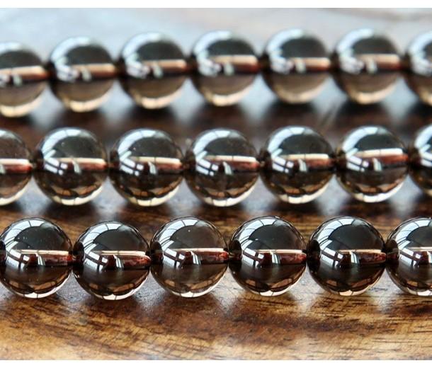 Smoky Quartz Beads, 10mm Smooth Round